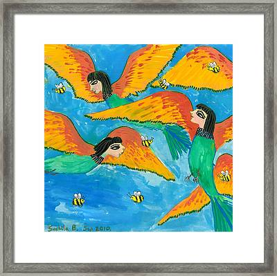 Bird People Bee Eaters For Artweeks Framed Print by Sushila Burgess