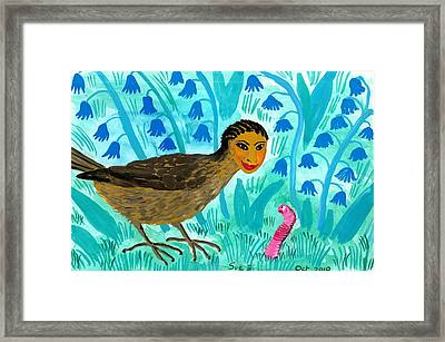 Bird People Blackbird And Worm Framed Print by Sushila Burgess