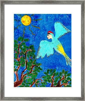 Bird People Green Woodpecker Framed Print by Sushila Burgess