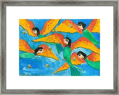 Bird People Little Green Bee Eaters Of Upper Egypt Framed Print by Sushila Burgess