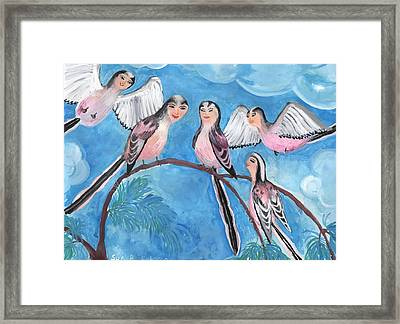 Bird People Long Tailed Tits Framed Print by Sushila Burgess