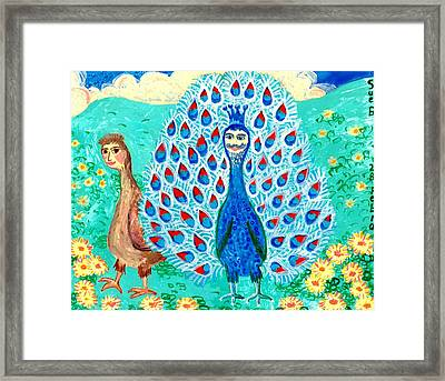 Bird People Peacock King And Peahen Framed Print by Sushila Burgess