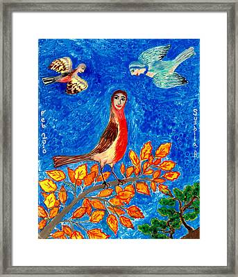 Bird People Robin Framed Print by Sushila Burgess