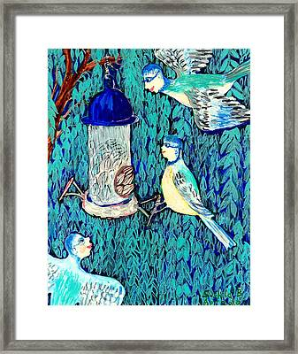 Bird People The Bluetit Family Framed Print by Sushila Burgess