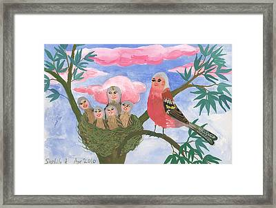Bird People The Chaffinch Family Framed Print by Sushila Burgess