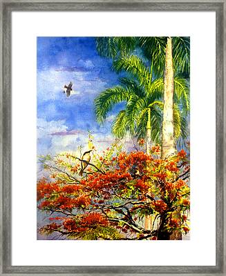 Bird Protected By Her Mother Framed Print by Estela Robles