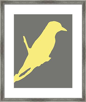 Bird Silhouette Gray Yellow Framed Print
