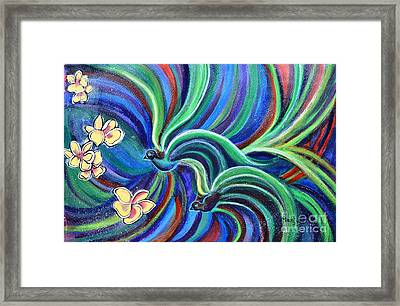 Bird Symphony With Frangipani Framed Print