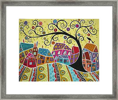 Bird Ten Houses And A Swirl Tree Framed Print by Karla Gerard