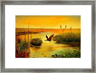 Framed Print featuring the painting Bird Water by Henryk Gorecki