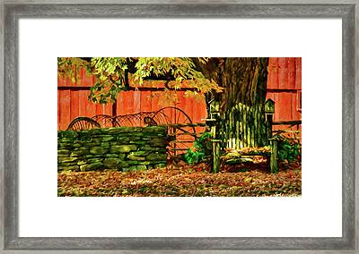 Framed Print featuring the photograph Birdhouse Chair In Autumn by Jeff Folger