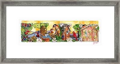 Birdhouse Tableau Framed Print by John Keaton