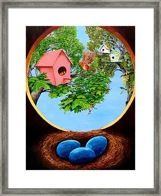 Birdhouses Framed Print by Walter Idema