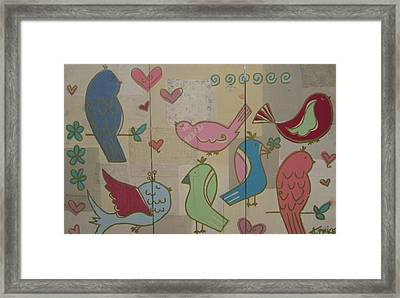 Birdie Tea Party Framed Print by Ashley Price