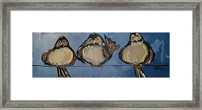 Birdies On A Wire Framed Print by Terri Einer