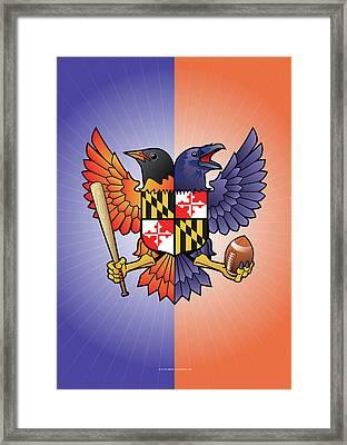 Birdland Baltimore Raven And Oriole Maryland Crest Framed Print