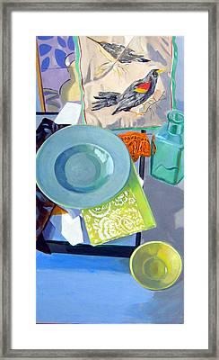 Birds And Bowls Framed Print by Maralyn Adlin