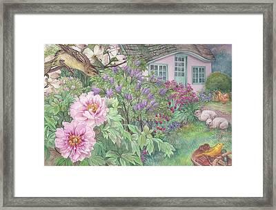 Birds And Bunnies In Cottage Garden Framed Print