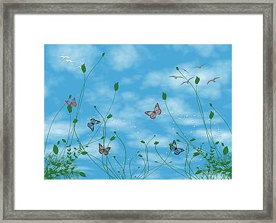 Birds And Butterflies  Framed Print by Evelyn Patrick