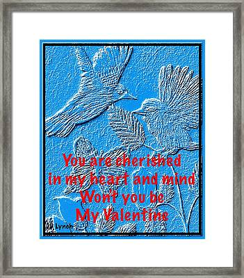 Birds And Butterfly Sketch In Blue Carving Sketch Framed Print by Debra Lynch