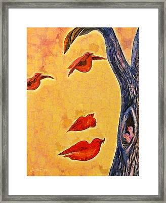 Birds And Tree - Pa Framed Print by Leonardo Digenio