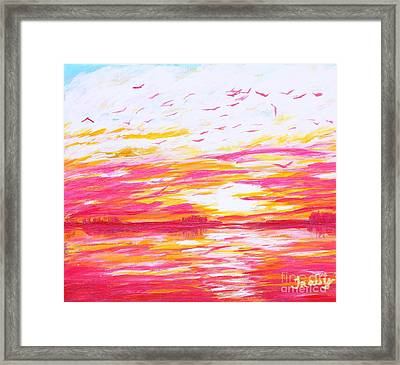 Birds At Sunset Framed Print by Tracy