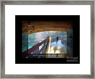 Birds Boaters And Bridges Of Barton Springs - Bridges One Greeting Card Poster V2 Framed Print