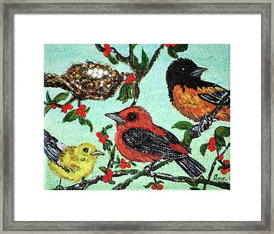 Birds By The Nest Framed Print by Ann Ingham