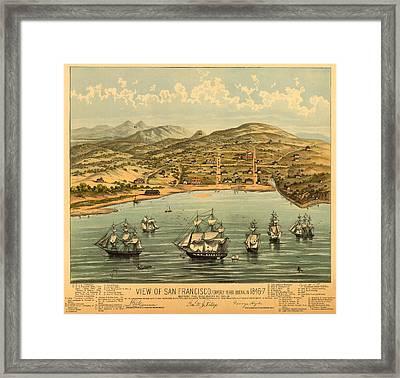 Birds Eye View Map Of San Francisco 1846 Framed Print