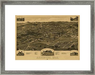 Bird's Eye View Of Anniston Alabama 1887 Framed Print by Mountain Dreams