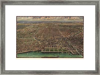 Birds Eye View Of Chicago 1916 Framed Print