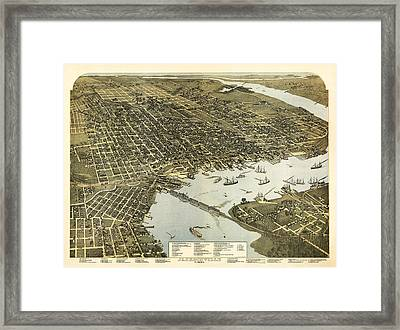 Birds Eye View Of Jacksonville Florida 1893 Framed Print by Bill Cannon