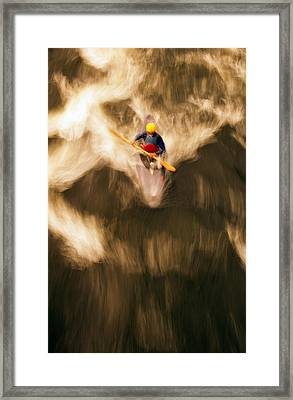 Birds-eye View Of Kayaker Framed Print