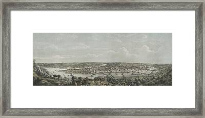 Birds-eye View Of Pittsburgh Framed Print by Everett