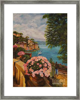 Bird's Eye View Of Portofino Framed Print by Charlotte Blanchard