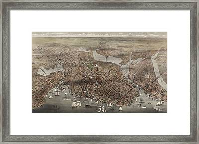 Birds Eye View Of The City Of Boston, Circa 1873 Framed Print by Currier and Ives