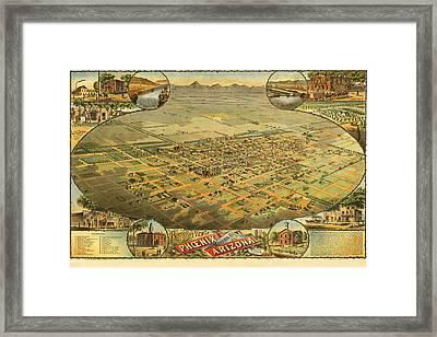 Bird's Eye View Of The City Of Phoenix Arizona Framed Print