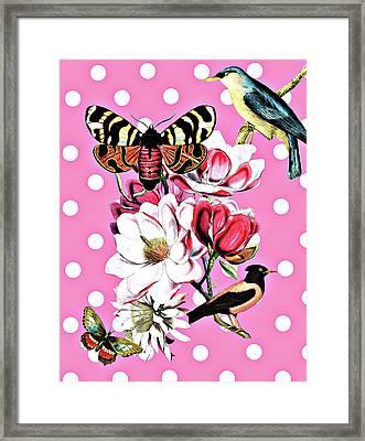 Birds, Flowers Butterflies And Polka Dots Framed Print