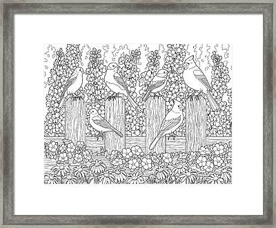 Birds In Flower Garden Coloring Page Framed Print by Crista Forest
