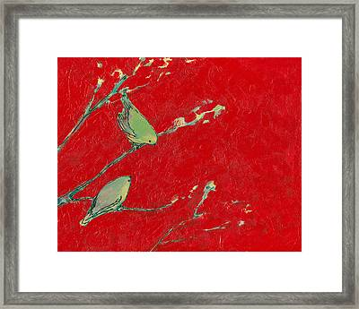 Birds In Red Framed Print by Jennifer Lommers
