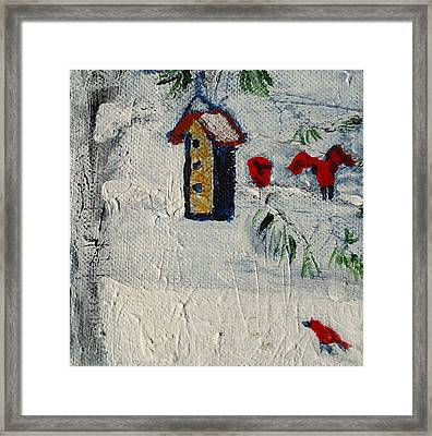 Birds In Snow Framed Print