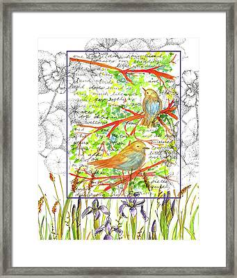 Framed Print featuring the painting Bluebirds Nature Collage by Cathie Richardson