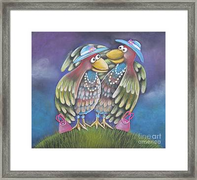Birds Of A Feather Stick Together Framed Print by Caroline Peacock