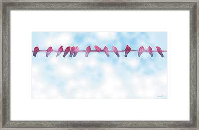 Birds On A Wire 3 Framed Print by The Art of Marsha Charlebois