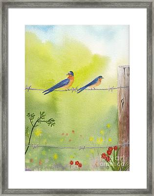 Birds On A Wire Barn Swallows Framed Print
