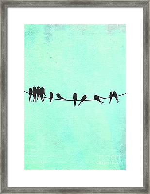 Birds On A Wire Silhouette Happy Birdies Framed Print