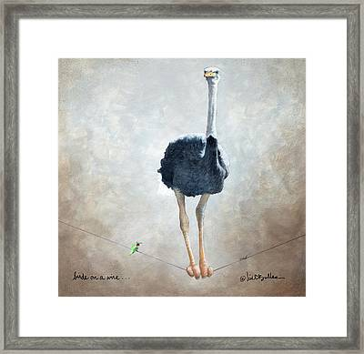 Birds On A Wire... Framed Print by Will Bullas