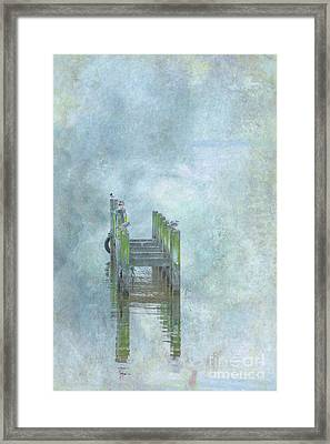 Framed Print featuring the digital art Birds On Abandoned Dock by Randy Steele