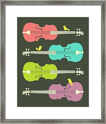 Birds On Cello Strings 3 Framed Print