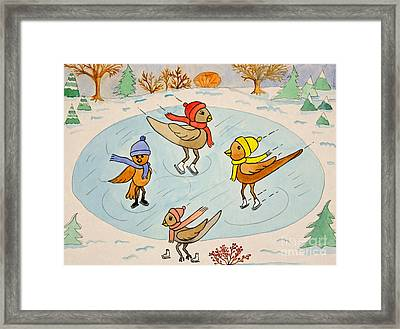 Birds On Ice Framed Print by Norma Appleton
